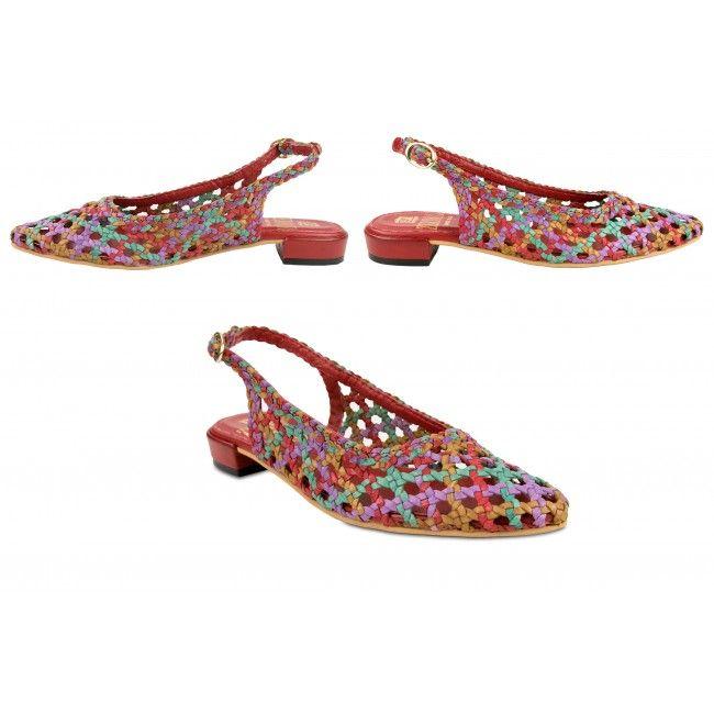 Sandalias trenzadas de piel multicolor con hebilla