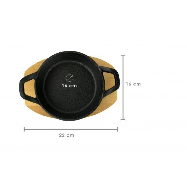 PACK 2 - Sartén de Hierro redonda 16 cm con Tabla de Madera