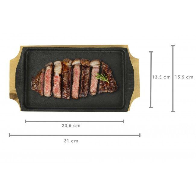 PACK 2 - Sartén de Hierro rectangular 27x15 cm con Tabla de Madera