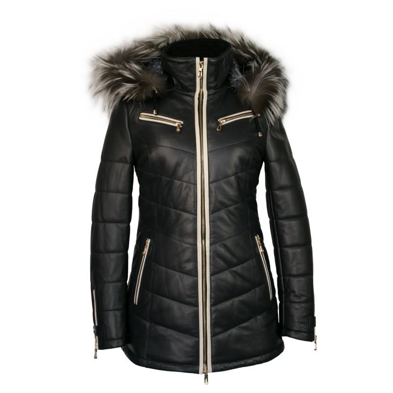 Abrigo de piel con capucha y cremallera - modelo SNOWMAN