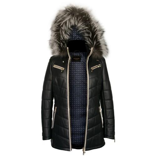 Abrigo de piel con capucha...