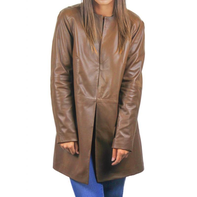 Abrigo de piel para mujer con cuello redondo y cierres invisibles