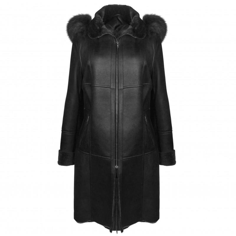 Abrigo de piel Double Face con capucha en color negro