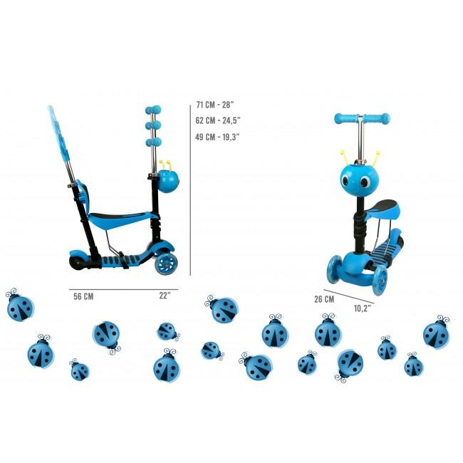 Patinete y bicicleta de equilibrio de 3 ruedas - 5 en 1