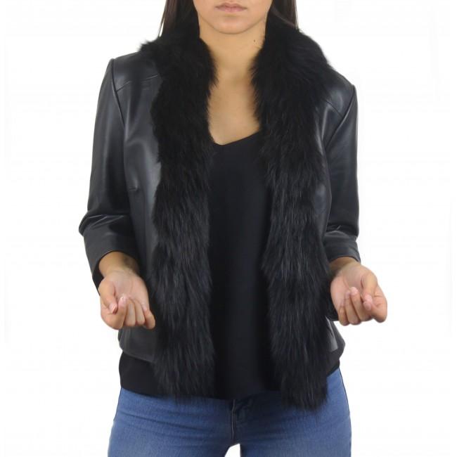 Chaqueta de piel natural para mujer con adorno de pelo