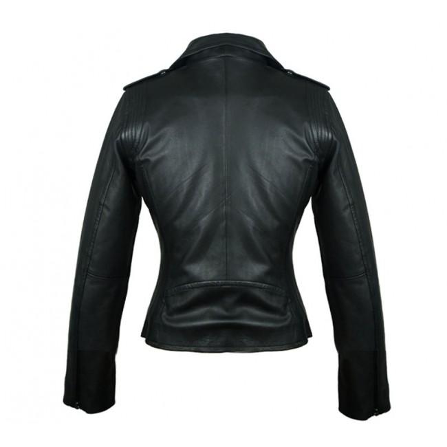 Chaqueta de cuero natural para mujer tipo biker en color negro