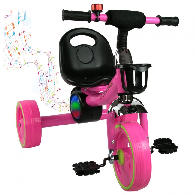 Triciclo con pedales de 2 a 6 años con música y luces