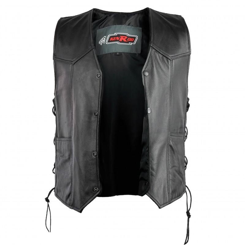 Chaleco de piel con bolsillos y cordones laterales con forro interior