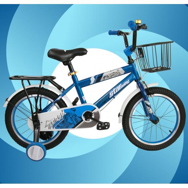 Bicicleta de 16 o 18 pulgadas metalizada con ruedines de plástico